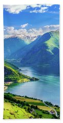 Lights And Shadows Of Sognefjord Bath Towel
