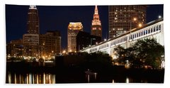 Bath Towel featuring the photograph Lights In Cleveland Ohio by Dale Kincaid