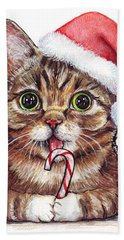Lil Bub Cat In Santa Hat Hand Towel by Olga Shvartsur
