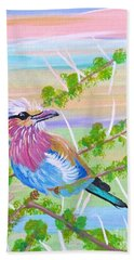 Lilac Breasted Roller In Thorn Tree Bath Towel by Phyllis Kaltenbach