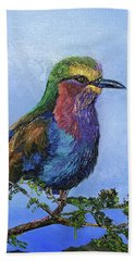 Lilac Breasted Roller Bath Towel