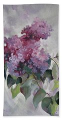 Hand Towel featuring the painting Lilac by Elena Oleniuc