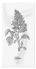 Lilac Flower Botanical Drawing Black And White Hand Towel