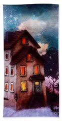 Hand Towel featuring the painting Lilac Hill by Mo T