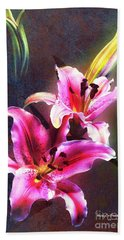 Lilies At Night Bath Towel