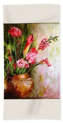 Hand Towel featuring the painting Lilies In The Pots by Harsh Malik