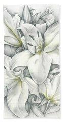 Lilies Pencil Hand Towel
