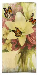 Lililies And Roses Hand Towel by Maria Urso