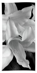 Lily Flowers Black And White Hand Towel