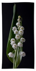 Lily Of The Valley On Black Hand Towel