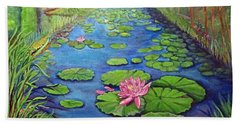 Water Lily Canal Hand Towel by Ecinja Art Works