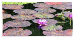 Lily Pads And Parasols Bath Towel