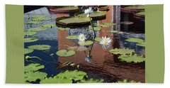 Lily Pond Reflections Hand Towel by Suzanne Gaff