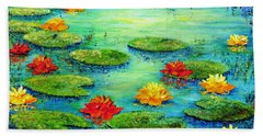 Hand Towel featuring the painting Lily Pond by Teresa Wegrzyn