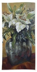 Lily-oil On Canvas Painting Bath Towel by Vali Irina Ciobanu