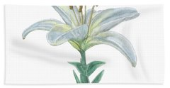 Lily Watercolor Bath Towel