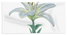 Lily Watercolor Bath Towel