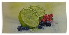 Lime And Berries Hand Towel by Kelly Mills
