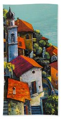 Bath Towel featuring the painting Limone Del Garda by Mikhail Zarovny