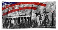Bath Towel featuring the painting Lincoln Abe by Gull G
