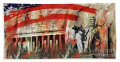 Hand Towel featuring the painting Lincoln Memorial And Lincoln Statue by Gull G