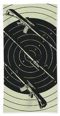 Line Art Rifle Range Bath Towel