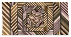 Line Geometry Bath Towel by Ron Bissett