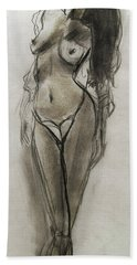 Bath Towel featuring the painting Lingerie Elegance by Jarko Aka Lui Grande