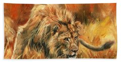 Hand Towel featuring the painting Lion Alert by David Stribbling