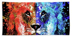 Bath Towel featuring the painting Lion Art - Majesty - Sharon Cummings by Sharon Cummings