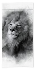 Lion Black White Hand Towel