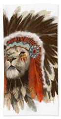 Lion Chief Bath Towel by Sassan Filsoof