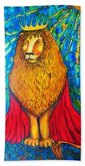 Hand Towel featuring the painting Lion-king by Rae Chichilnitsky