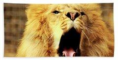Bath Towel featuring the photograph Lion King Yawning by Ayasha Loya