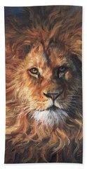 Lion Portrait Bath Towel by David Stribbling