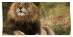 Bath Towel featuring the painting Lion Resting by David Stribbling