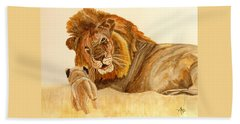Lion Watercolor Bath Towel