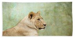 Lioness Portrait Bath Towel by Wade Brooks