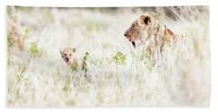 Lioness With Baby Cub In Grasslands Bath Towel