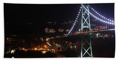 Lions Gate Bridge And Grouse Mountain Hand Towel