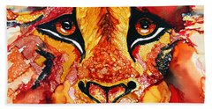 Lion's Head  Red Hand Towel