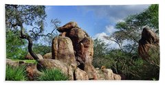 Lions On The Rock Hand Towel by B Wayne Mullins