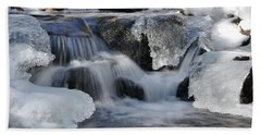 Winter Waterfall In Maine Hand Towel by Glenn Gordon