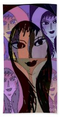Hand Towel featuring the mixed media Lisa by Ann Calvo