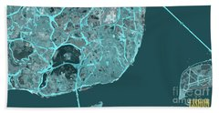 Lisbon, Portugal, Map, Abstract, Blue Hand Towel