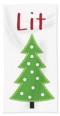 Lit Christmas Tree- Art By Linda Woods Bath Towel