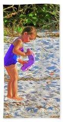 Little Beach Girl With Flip Flops Hand Towel