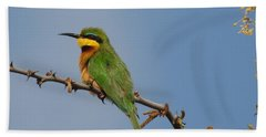 Bath Towel featuring the photograph Little Bee-eater by Betty-Anne McDonald