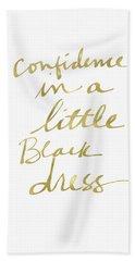Little Black Dress Gold- Art By Linda Woods Bath Towel