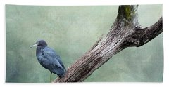 Little Blue Heron On Green Hand Towel